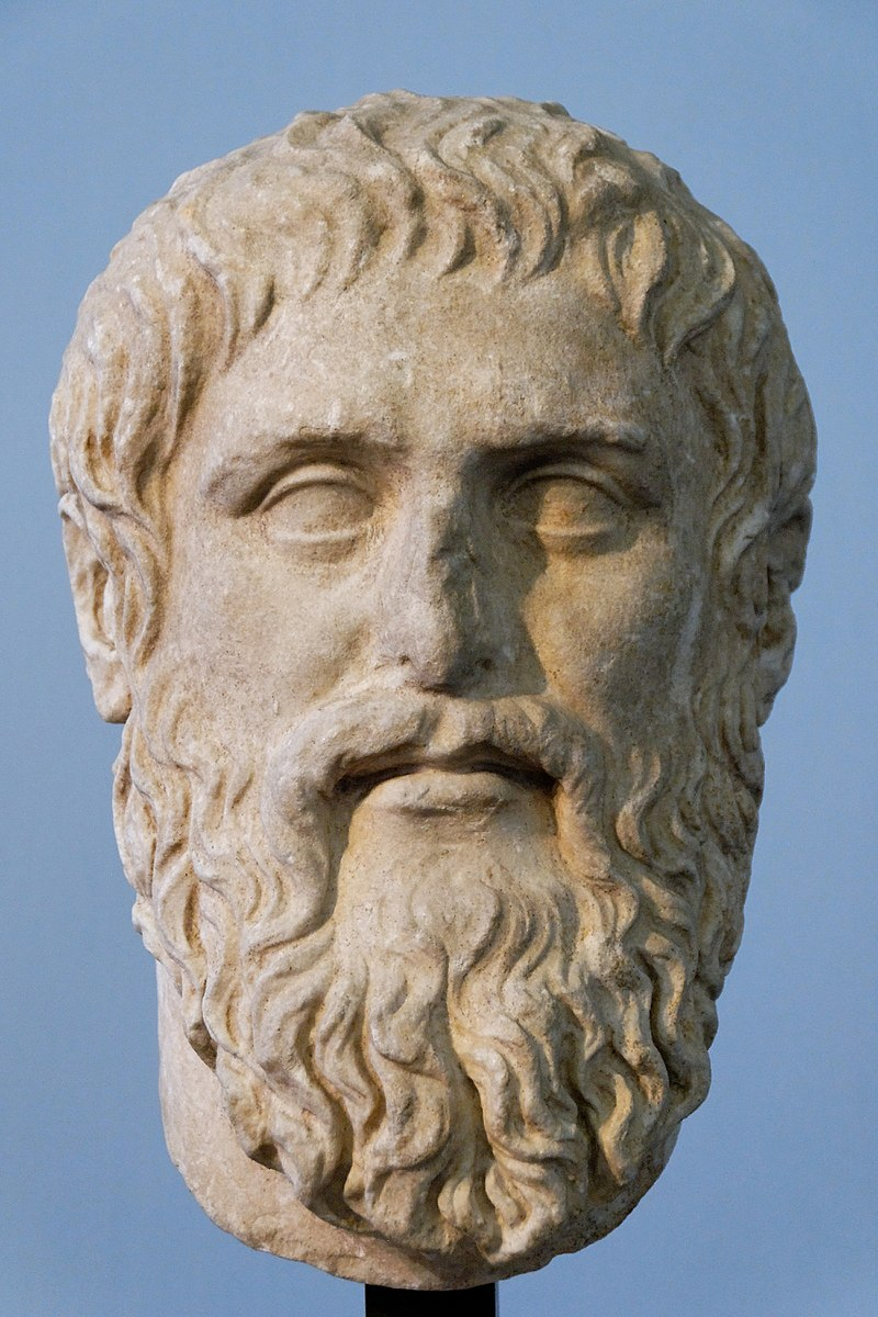 Plato Silanion Musei Capitolini MC1377.jpg Plato. Luni marble, copy of the portrait made by Silanion ca. 370 BC for the Academia in Athens. From the sacred area in Largo Argentina.
