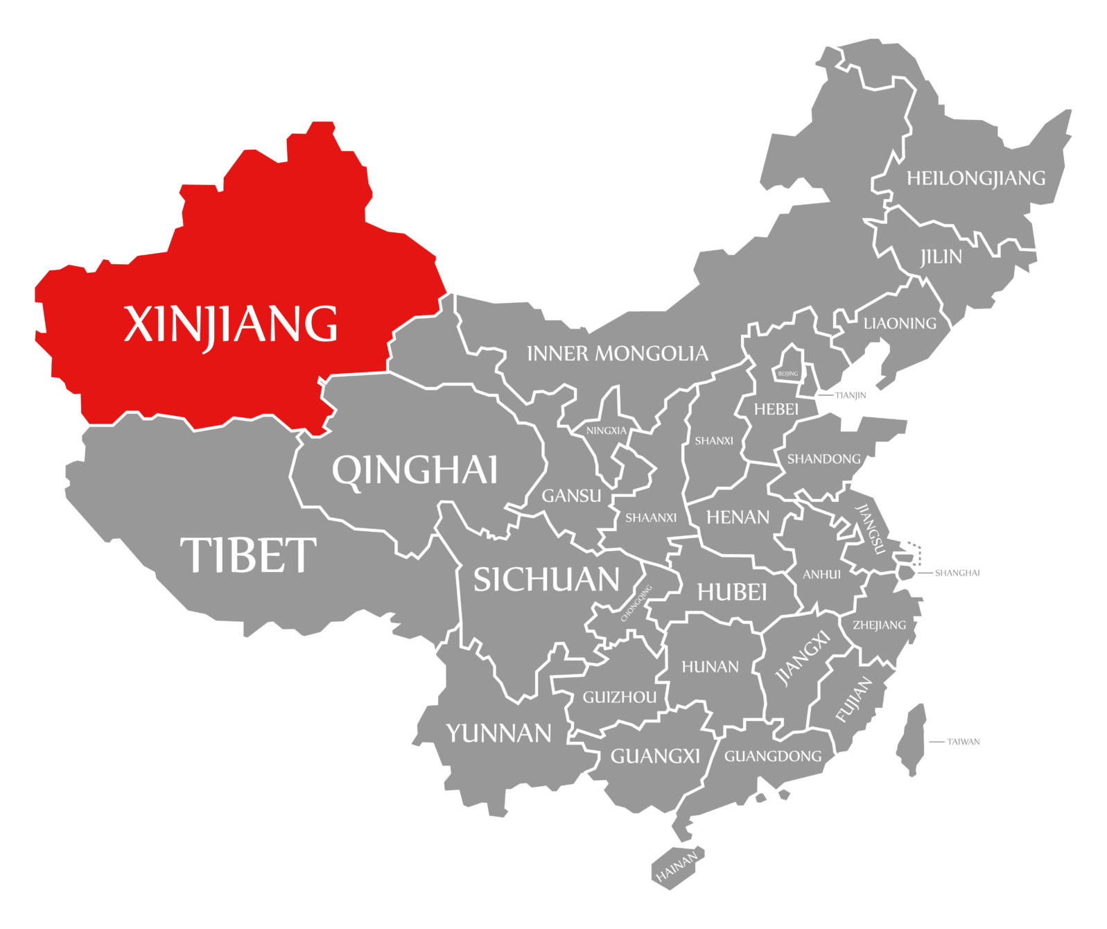Xinjiang red highlighted in map of China